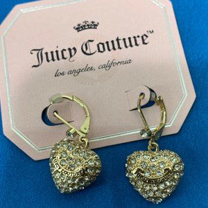 Juicy Couture Gold Crystal Heart Dangle Earrings